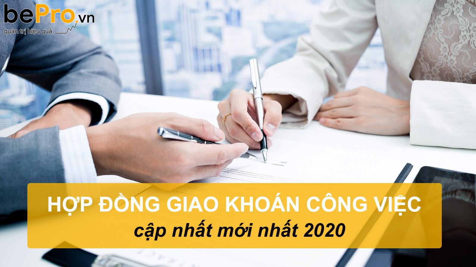 Hợp đồng giao khoán công việc cập nhật mới nhất 2020