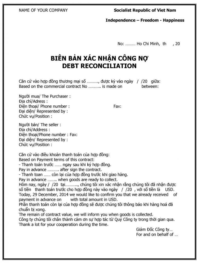 biên bản xác nhận công nợ 02