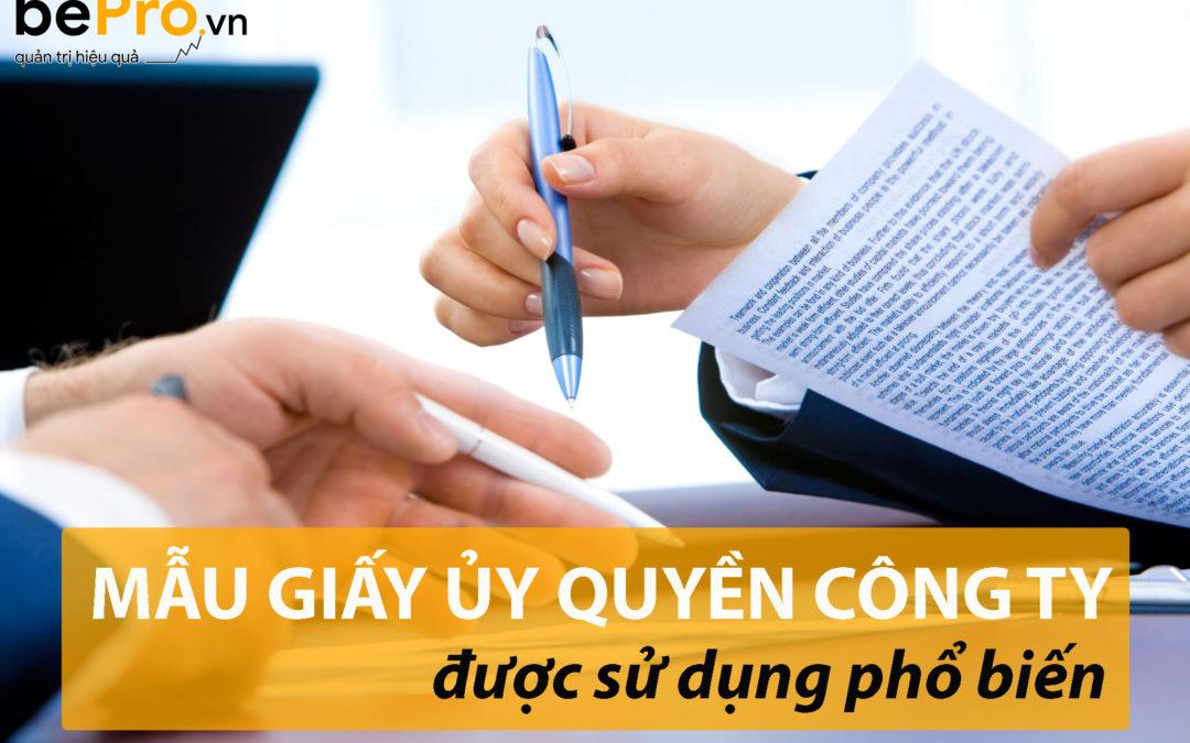 Mẫu giấy ủy quyền công ty được sử dụng phổ biến